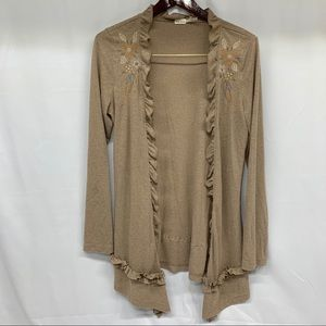 Blue Bird Stitched Floral Open Cardigan Size M